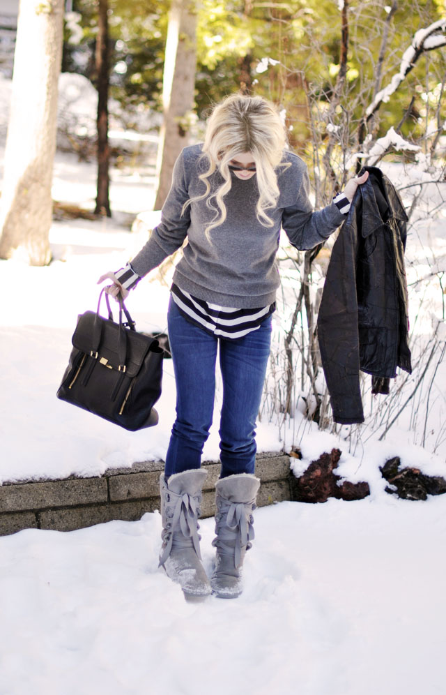 jeans and stripes and  gray in  the snow